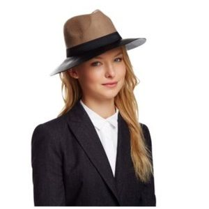 BCBG brown camel wool faux leather fedora!